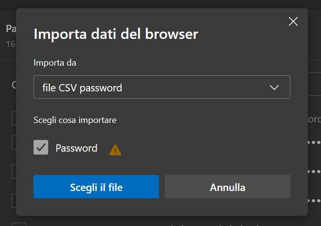 Microsoft Edge - Importa password da file CSV