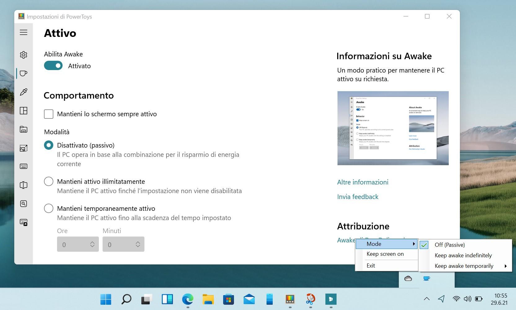 Microsoft PowerToys - Awake (Attivo)
