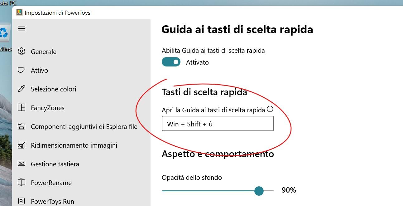 Microsoft PowerToys - Guida ai tasti di scelta rapida - Selezione combinazione da tastiera per l'attivazione