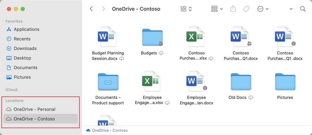 OneDrive per macOS - Nuovo posizionamento all'interno del Finder