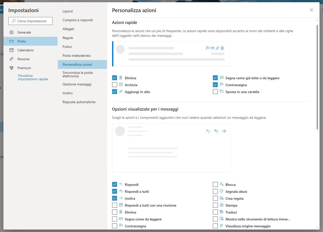 Outlook - Impostazioni di personalizzazione azioni
