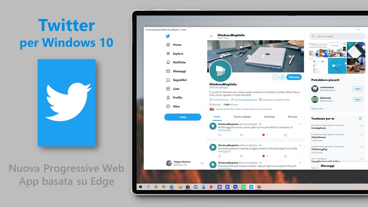 Twitter per Windows 10 - Nuova Progressive Web App basata su Edge