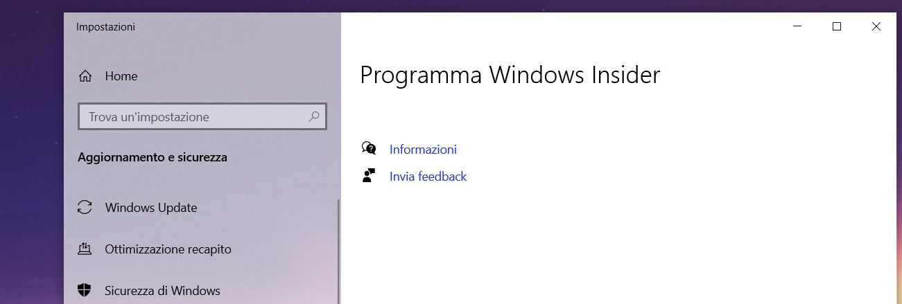 Windows 10 - Impostazioni programma Windows Insider - Vuote