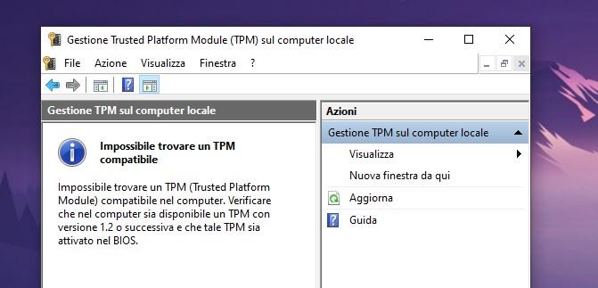 Windows 10 - TPM non trovato