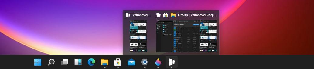 Windows 11 Build 21996 - Gruppi di app sulla barra delle applicazioni con tema scuro