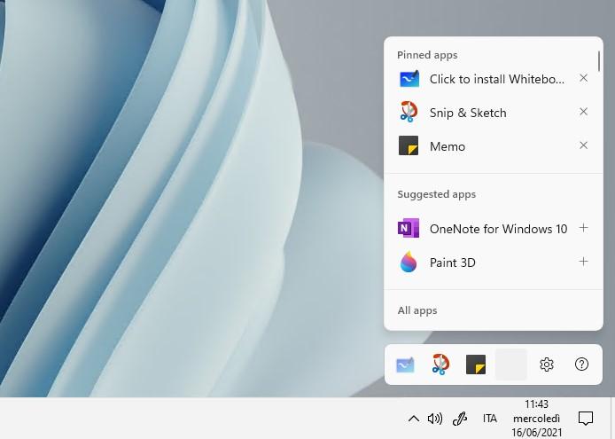 Windows 11 - Build 21996 - Nuova Area Windows Ink personalizzabile