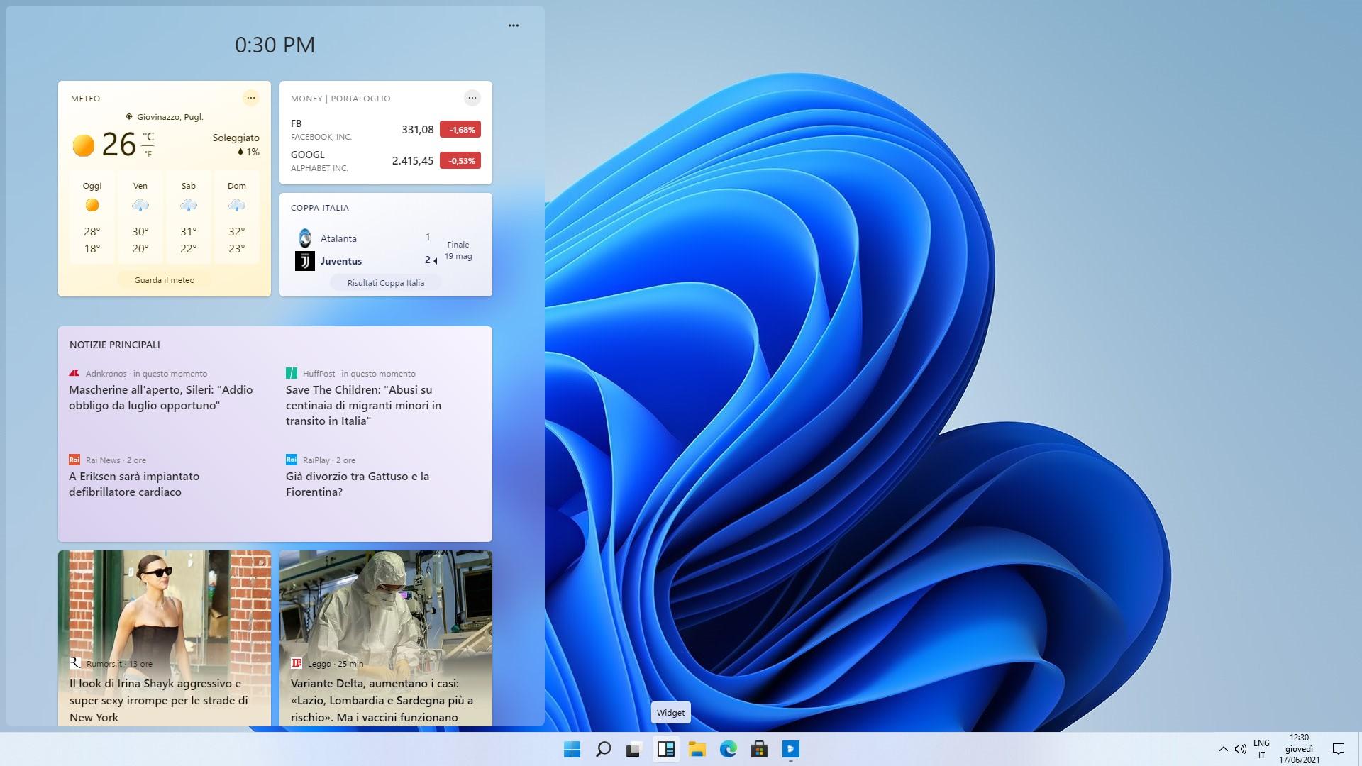 Windows 11 Build 21996 - Windows Dashboard (Widget)