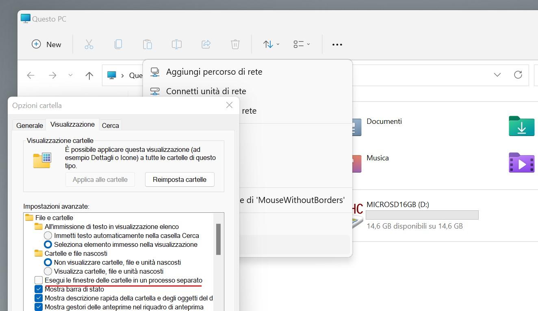 Windows 11 Build 22000.51 - Opzioni cartella - Esplora file - Esegui le finestre delle cartelle in un processo separato