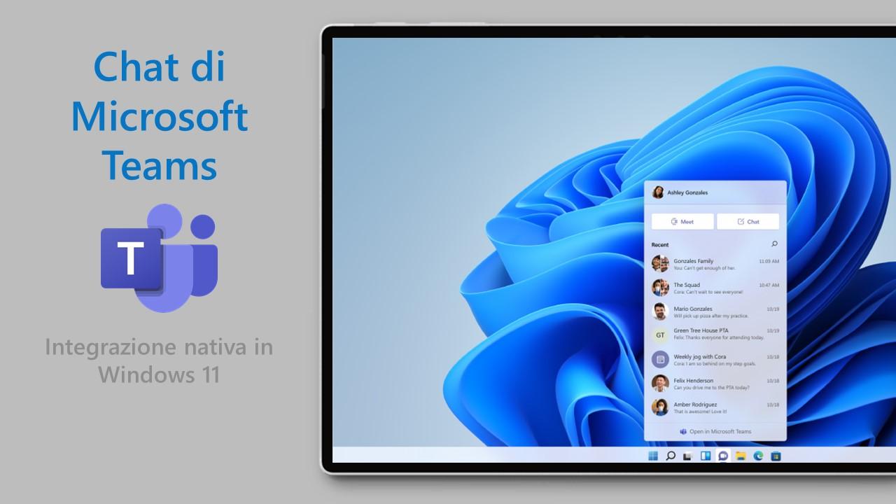 Windows 11 - Chat - Integrazione nativa con Microsoft Teams