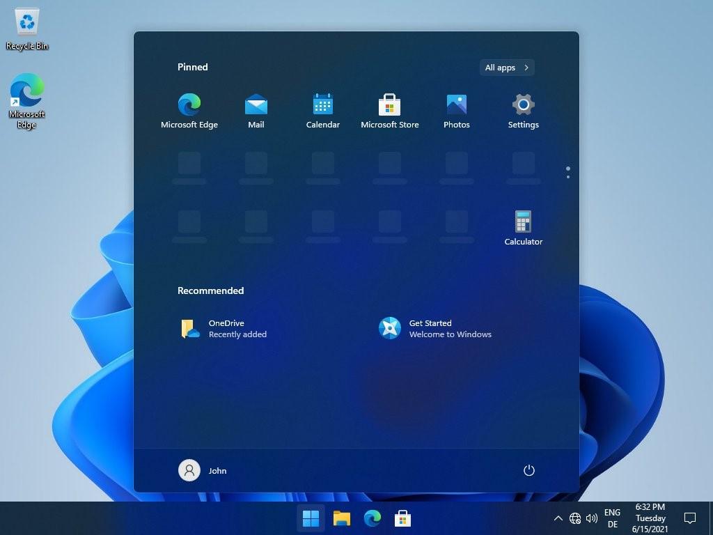 Windows 11 - Menu Start tema scuro - Leak