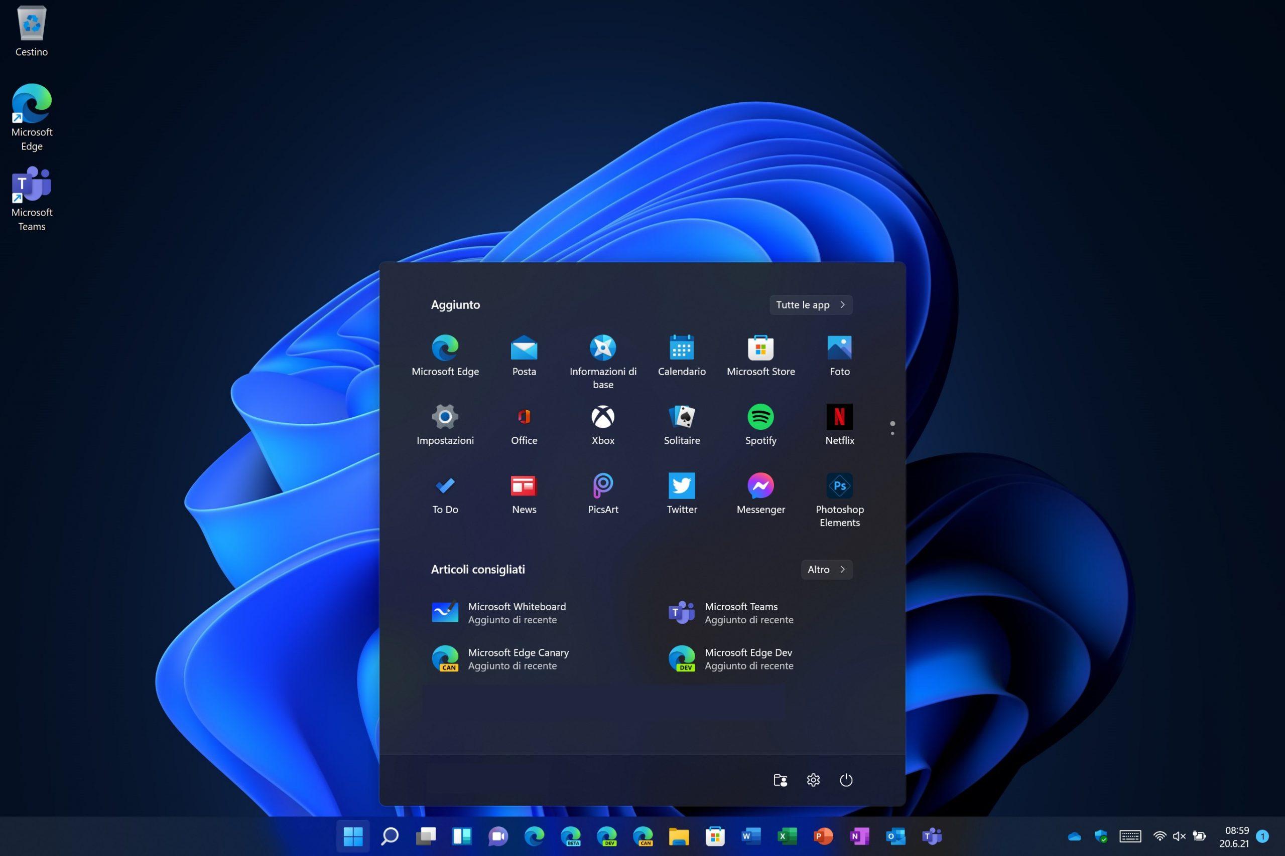 Windows 11 - Nuovo menu Start