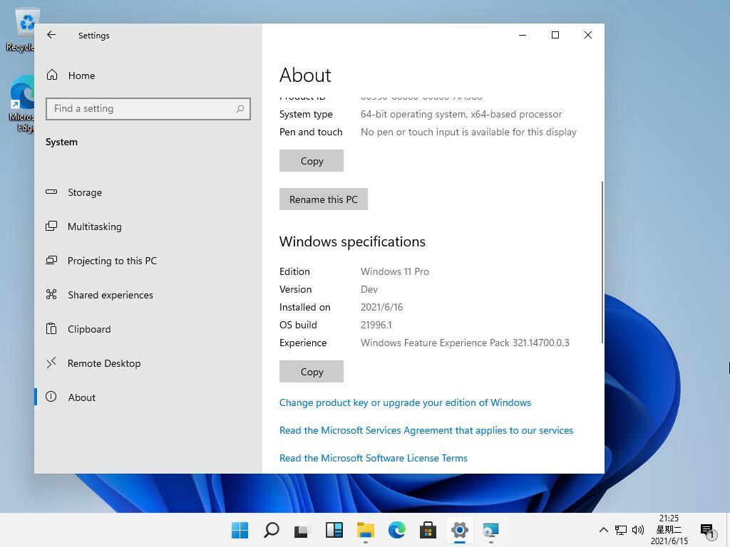 Windows 11 Pro - Impostazioni - Leak