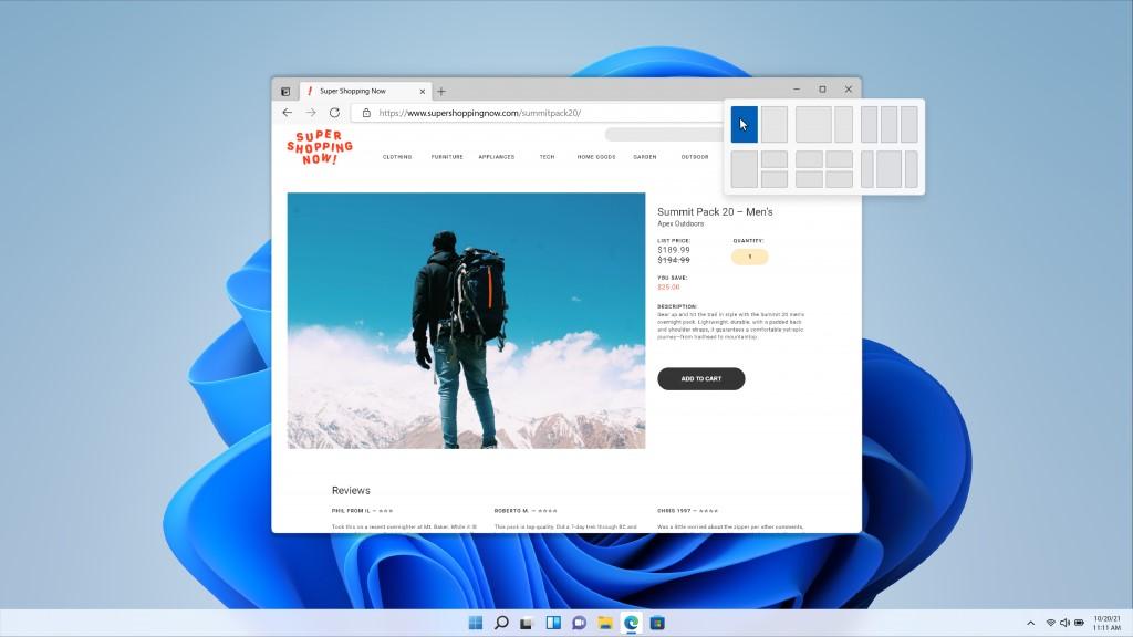 Windows 11 - Snap layouts