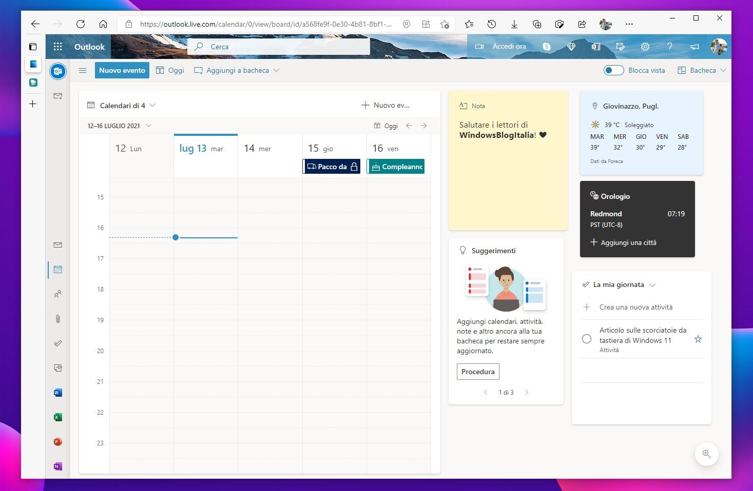 Calendario di Outlook.com - Bacheca