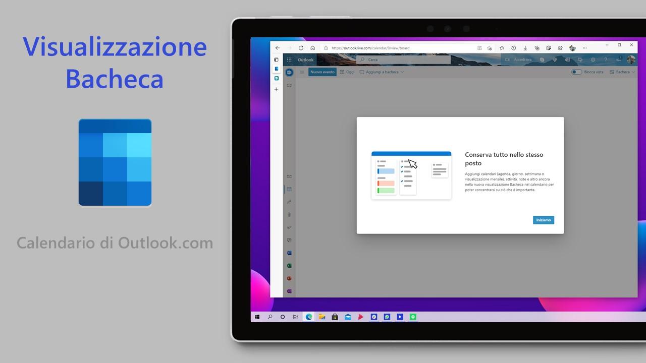 Calendario di Outlook.com - Visualizzazione bacheca