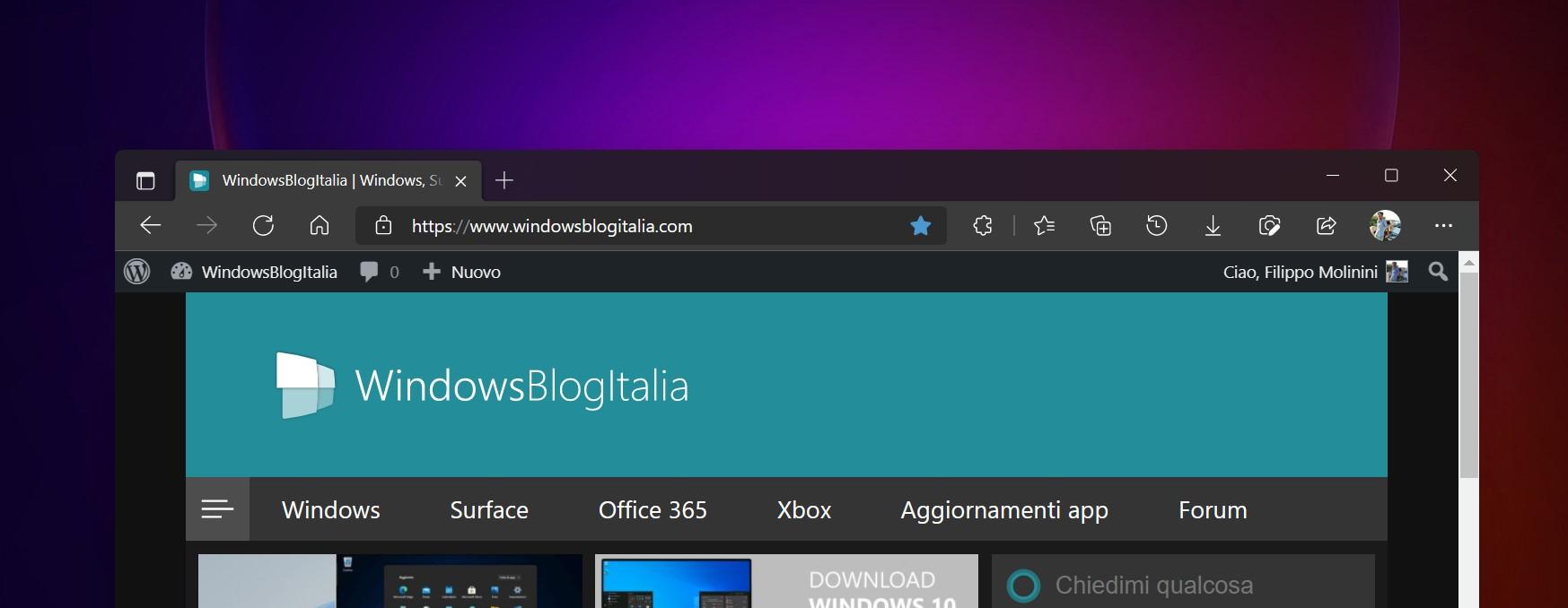 Microsoft Edge Canary - Enable Windows 11 Visual Updates - Nuovo design pulsanti minimizza, massimizza e chiudi e barra del titolo trasparente