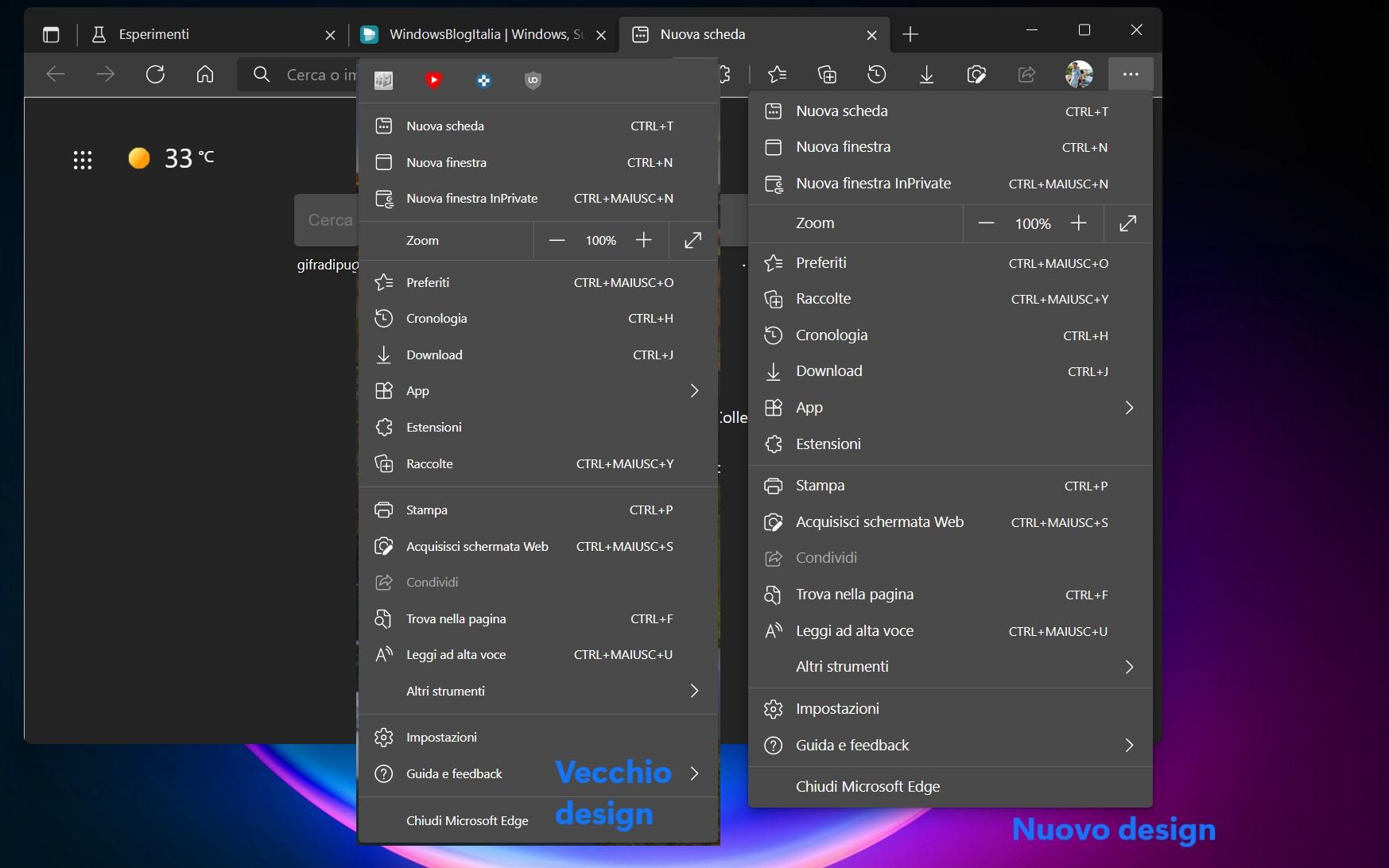 Microsoft Edge Canary - Flag - Enable Windows 11 Visual Updates - Nuovo design menu