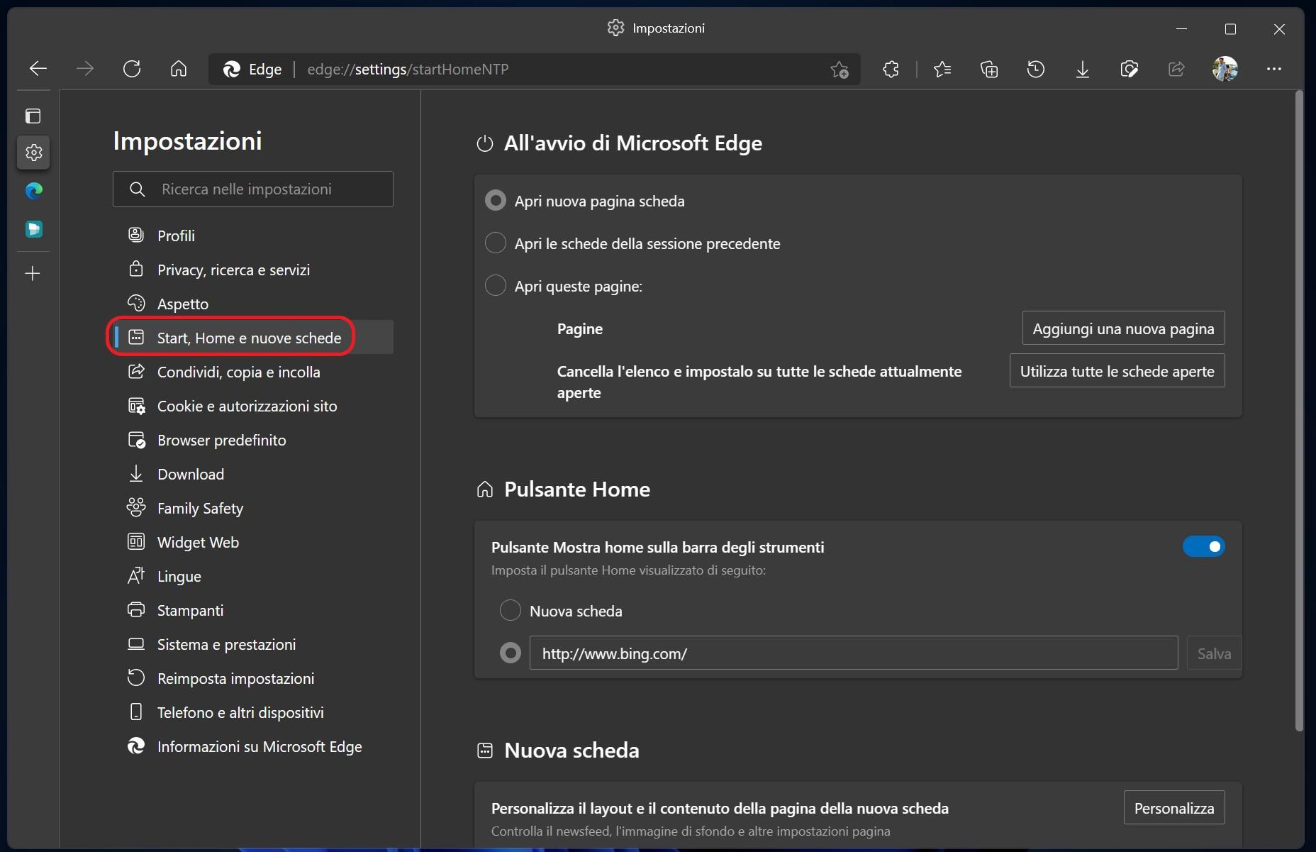 Microsoft Edge Dev - Pagina impostazioni Start, Home e nuove schede