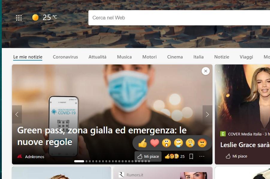 Microsoft Edge - Emoji per esprimere reazioni alle notizie nella pagina Nuova scheda