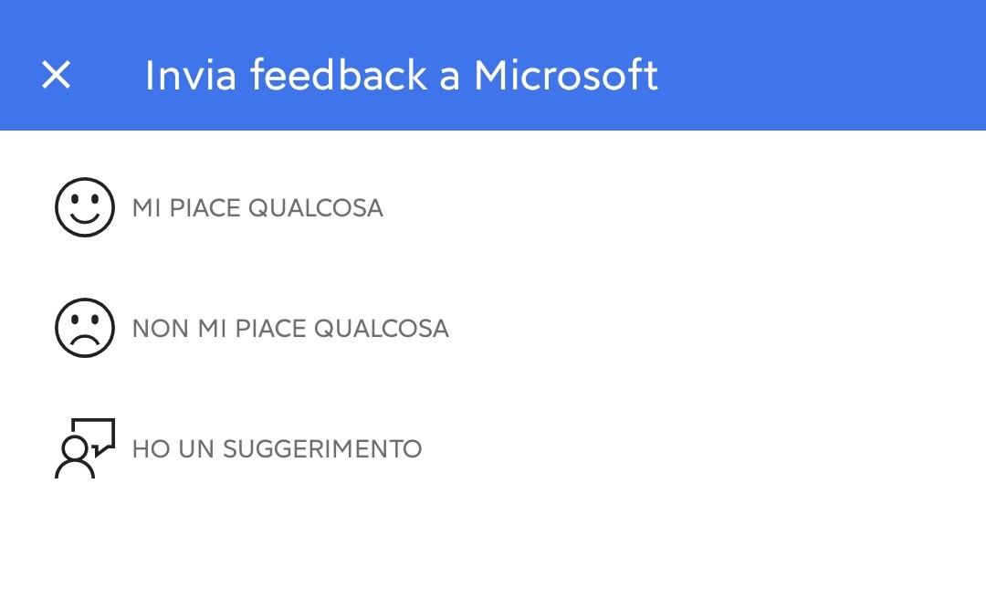 Microsoft Outlook per Android - Nuova pagina per i feedback