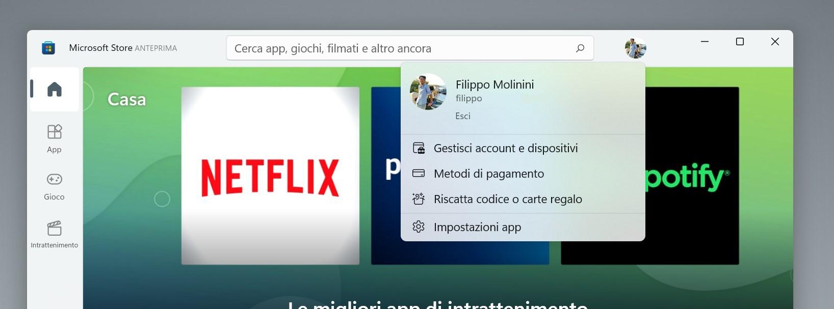 Microsoft Store di Windows 11 - Correzione immagine profilo dell'Account Microsoft