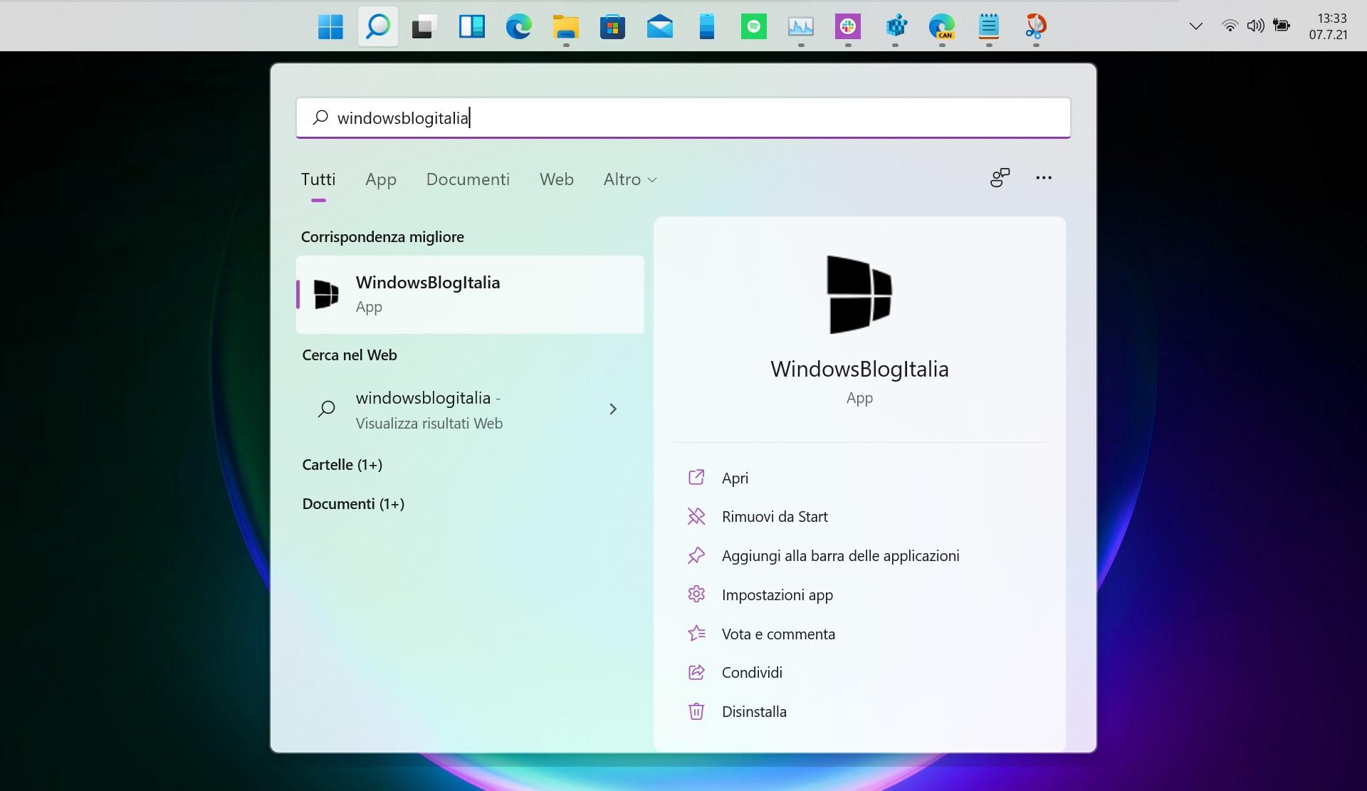 Windows 11 Build 22000.51 - Barra delle applicazioni in alto
