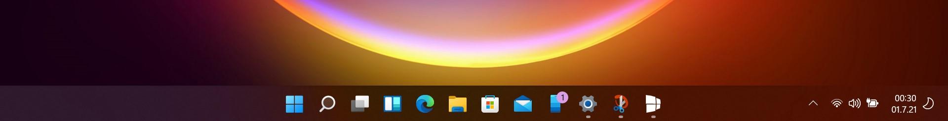 Windows 11 Build 22000.51 - Barra delle applicazioni