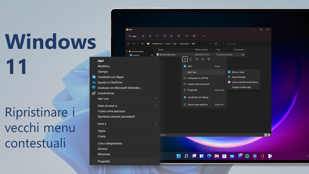 Windows 11 Build 22000.51 - Come ripristinare i vecchi menu contestuali