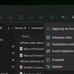 Windows 11 Build 22000.51 - Esplora file - Barra dei comandi - Opzioni aggiuntive