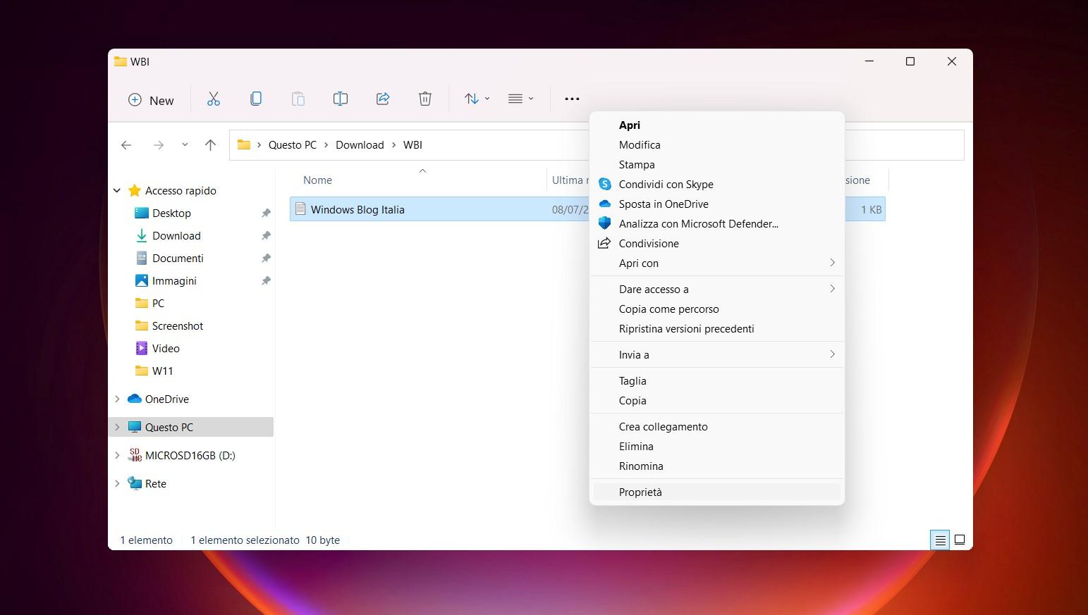 Windows 11 Build 22000.51 - Menu contestuale con vecchio layout