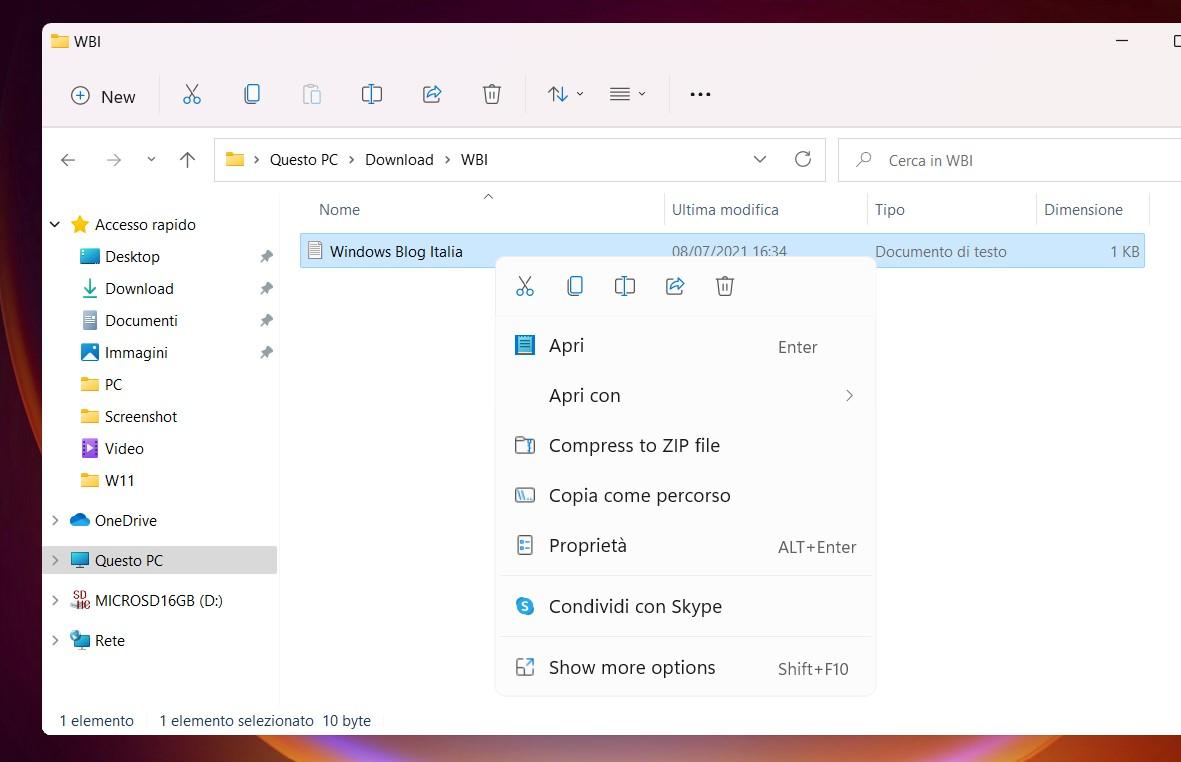 Windows 11 Build 22000.51 - Nuovo menu contestuale adattivo