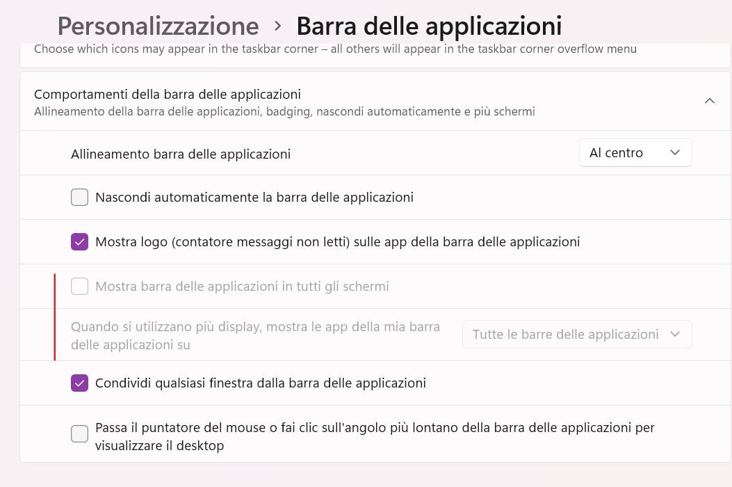Windows 11 Build 22000.65 - Barra delle applicazioni - Mostra barra delle applicazioni in tutti gli schermi