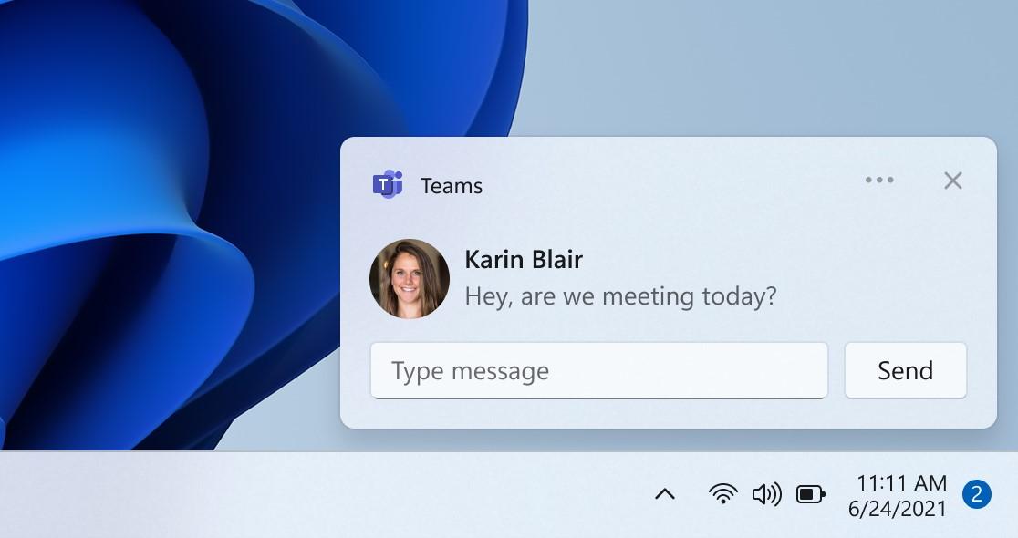 Windows 11 - Chat con Teams - Notifiche native