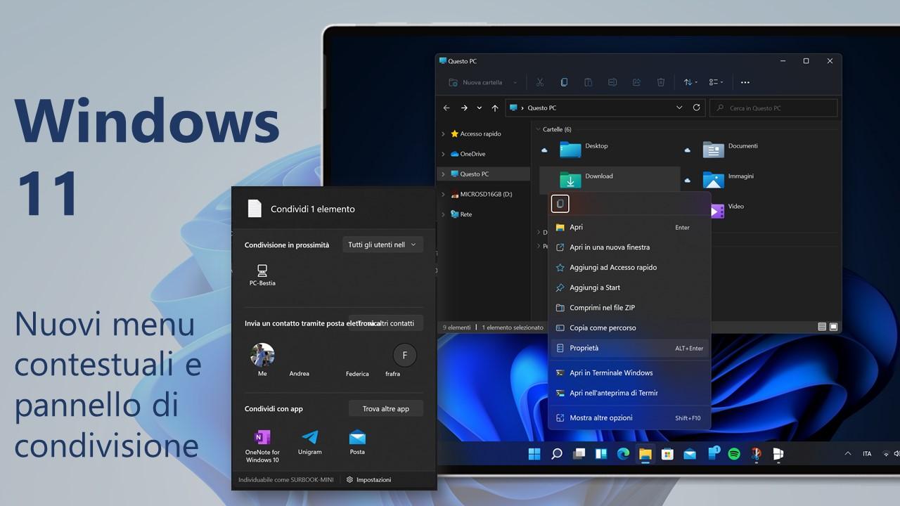 Windows 11 - Nuovi menu contestuali e pannello di condivisione