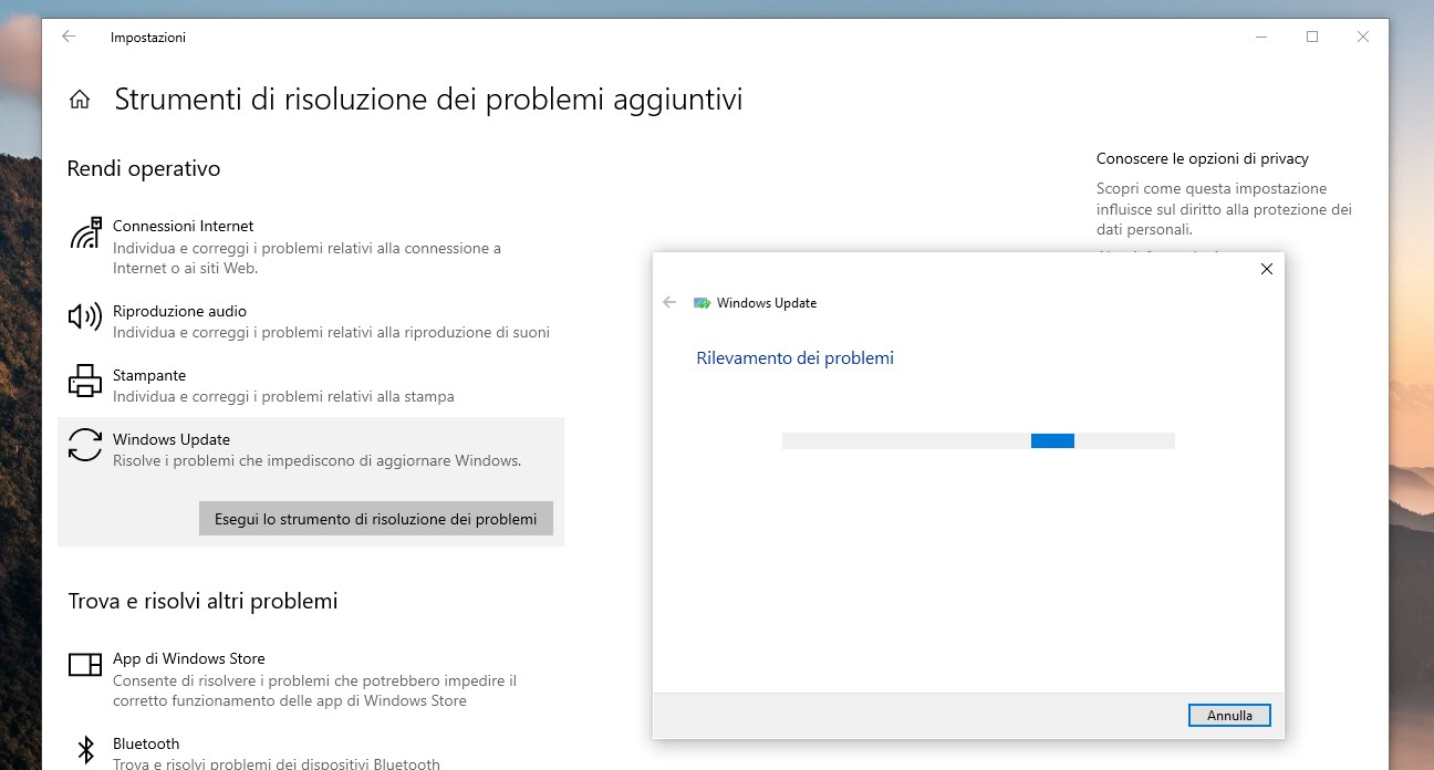 Windows Update - Esegui strumento di risoluzione problemi