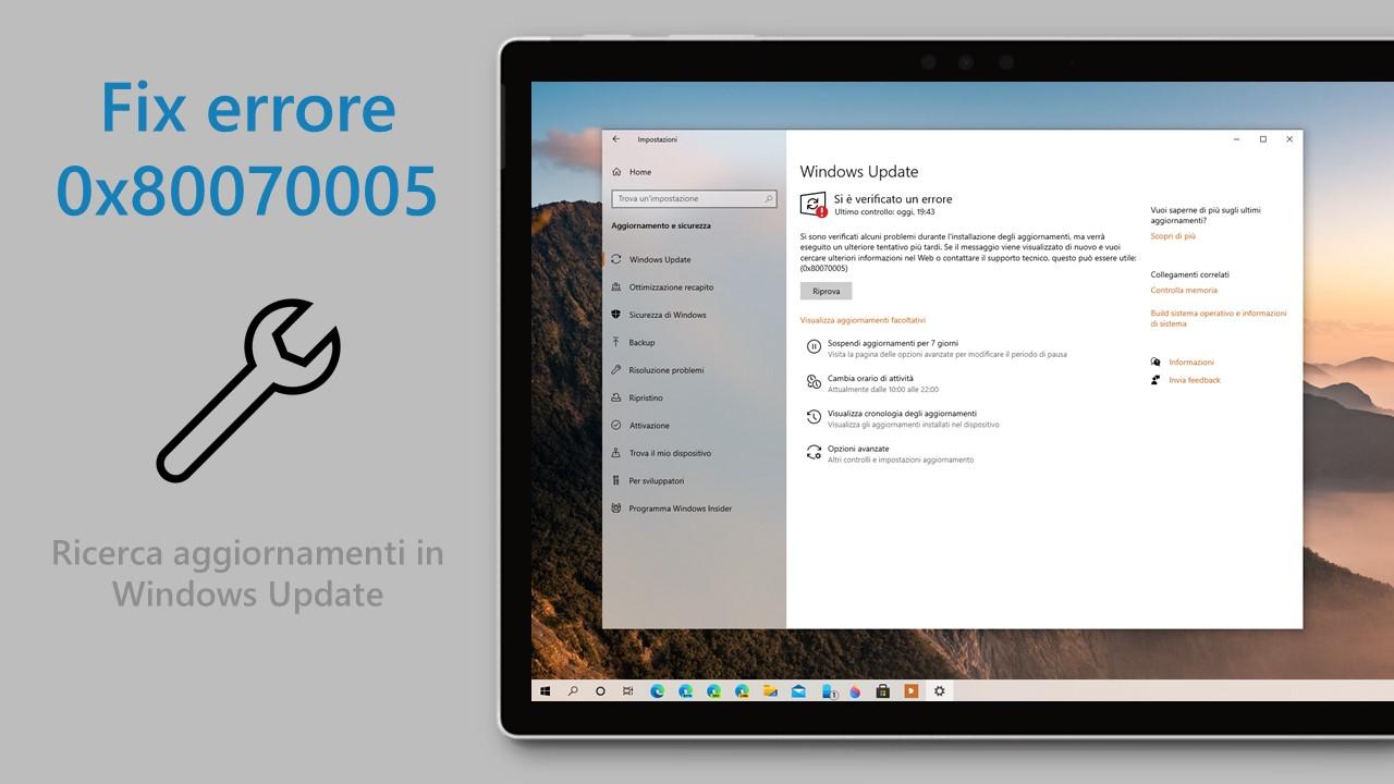 Windows Update - Fix errore 0x80070005