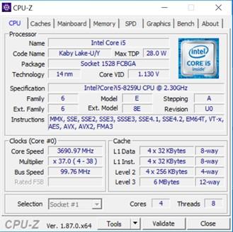 CHUWI CoreBook XPro - Specifiche tecniche - CPU-Z