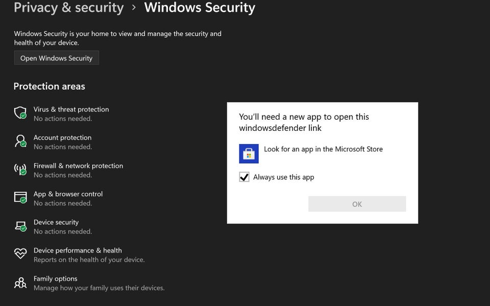 Errore Sicurezza di Windows in Windows 11