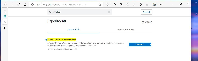 Microsoft Edge Canary - Flag per le nuove scrollbar