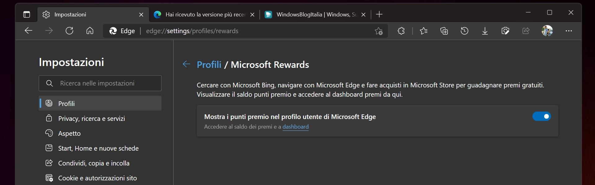 Microsoft Edge Dev - Impostazioni Microsoft Rewards