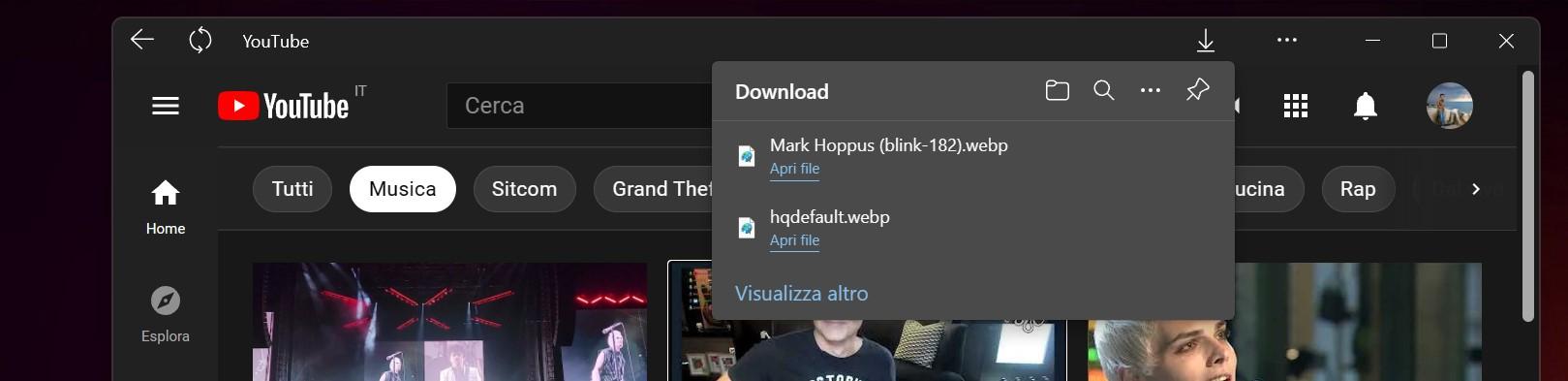 Microsoft Edge Dev - PWA con pannello dei download
