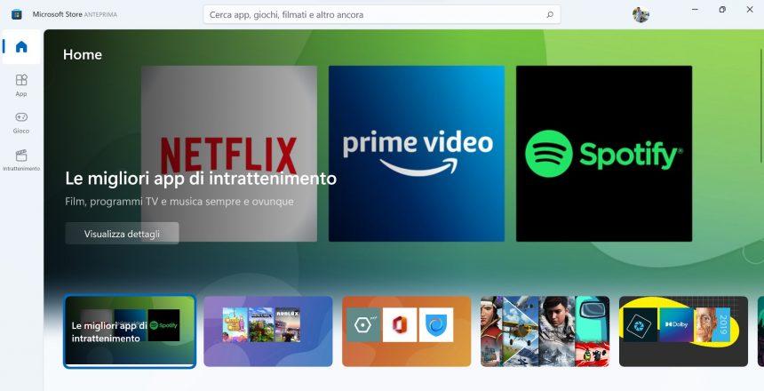 Microsoft Store per Windows 11 - Nuovo design delle raccolte in evidenza nella pagina principale