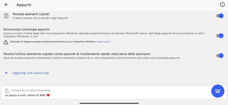 Microsoft SwiftKey Beta per Android - Sincronizzazione appunti copiati tra dispositivi nel cloud