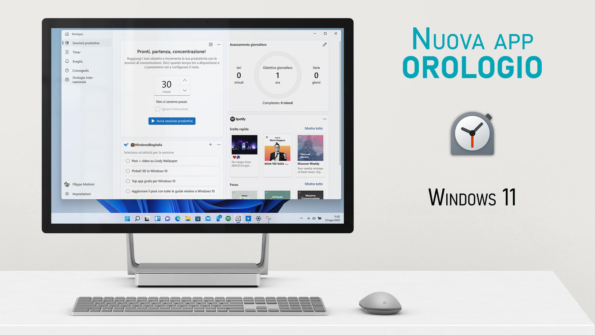 Nuova app Orologio di Windows 11
