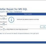 Stellar Repair for MS SQL per Windows - Analisi e correzione del database completate