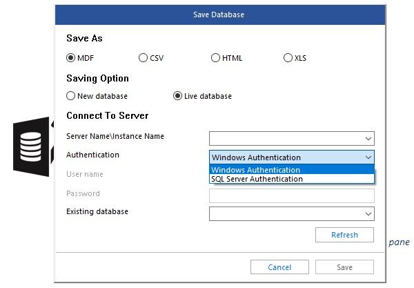 Stellar Repair for MS SQL per Windows - Esportazione database come MDF in un live database