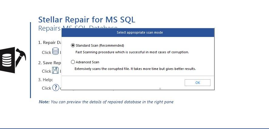 Stellar Repair for MS SQL per Windows - Modalità di scansione del database