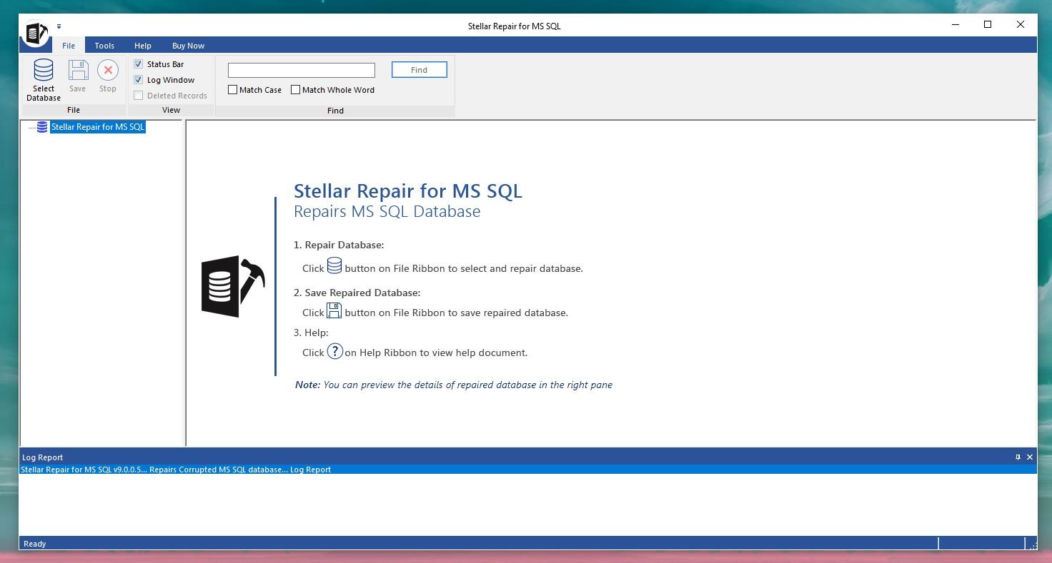 Stellar Repair for MS SQL per Windows - Pagina principale