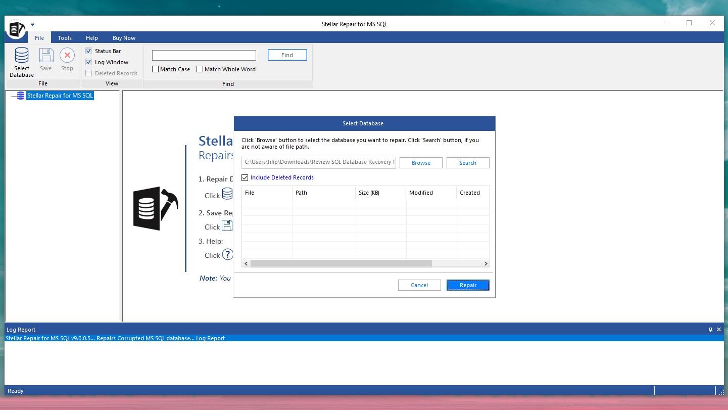 Stellar Repair for MS SQL per Windows - Selezione database da scansionare