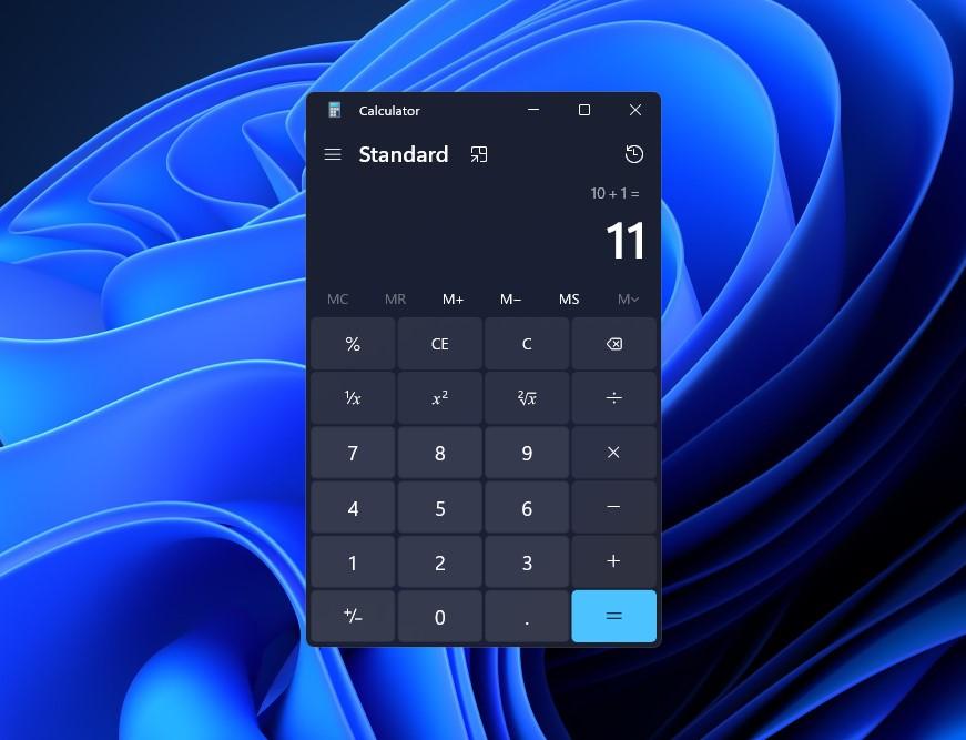 Windows 11 - Nuova interfaccia dell'app Calcolatrice